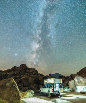 PopUp Four Wheel Camper under Starry Night